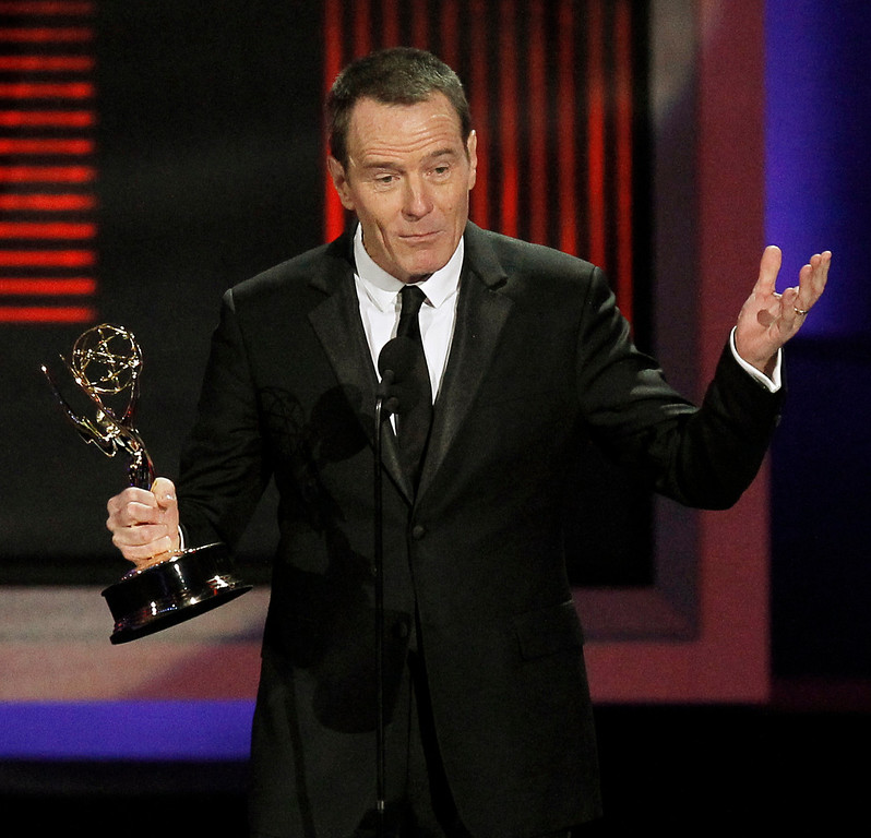 ". Bryan Cranston accepts the award for outstanding lead actor in a drama series for ""Breaking Bad\"" during the 62nd Primetime Emmy Awards Sunday, Aug. 29, 2010, in Los Angeles. (AP Photo/Chris Carlson)"