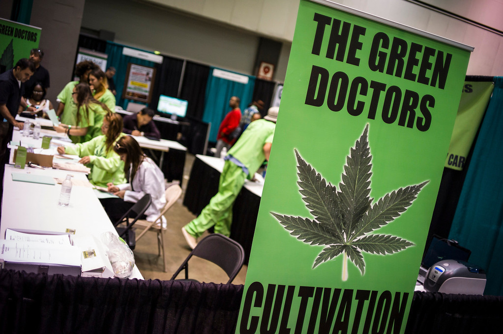 """. \""""Patients\"""" can get prescriptions for Marijuana at the Hempcon Marijuana convention at the Convention Center in Los Angeles.   Photo by David Crane/Los Angeles Daily News"""