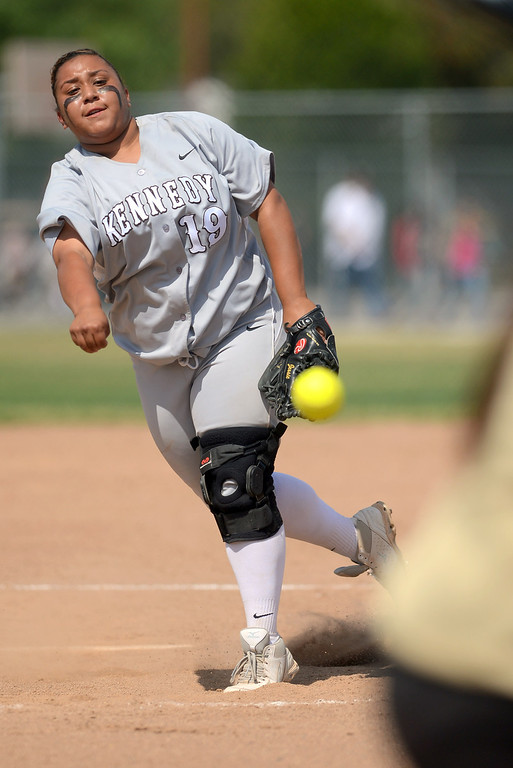 . Kennedy\'s Jessica Olvera delivers a pitch against Narbonne during the CIF City Section Div. I softball semifinal in Granada Hills, Ca May 21, 2013.(Andy Holzman/Staff Photographer)