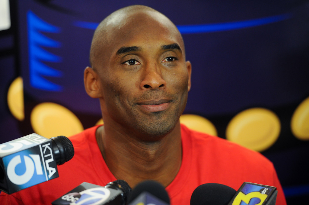 . Kobe Bryant answers questions about the state of the Lakers during a press conference before welcoming campers to his Kobe Basketball Academy at UCSB, Wednesday, July 10, 2013. (Michael Owen Baker/L.A. Daily News)