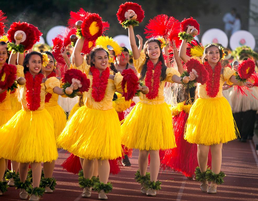 ". The Hawaii All-state Marching Band \""Na Koa Ali\'i\"" performs during the Pasadena Tournament of Roses Bandfest I at Pasadena City College Dec. 29, 2013.   (Staff photo by Leo Jarzomb/Pasadena Star-News)"