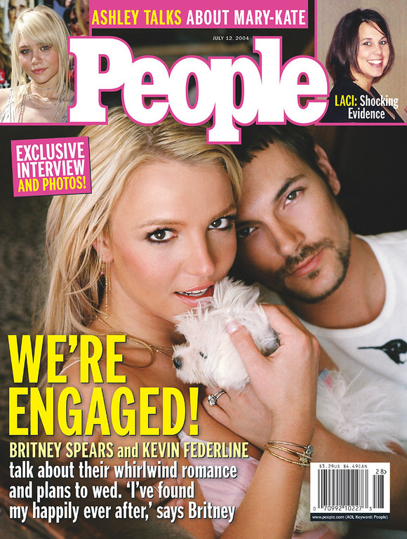 . A photo by Mark Liddell of recently engaged Britney Spears and dancer Kevin Federline, graces the cover of the July 12,2004, issue of People magazine. It hits newsstands on Friday, July 2.(AP Photo/People,Mark Liddell)