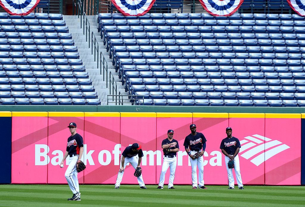 . The Atlanta Braves\' workout Wednesday, October 2, 2013 as they get ready for the first playoff game against the Dodgers Thursday at Turner Field in Atlanta, Georgia. (Photo by Sarah Reingewirtz/Pasadena Star- News)