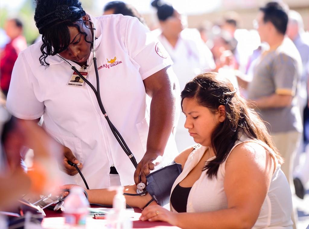 . Hundreds of individuals and families attend the free 13th annual Binational Health Fair at the Consulate of Mexico in San Bernardino on Sunday, Oct. 6, 2013. More than fifty organizations participated in the event and offered free, on-site health screenings. (Photo by Rachel Luna / San Bernardino Sun)