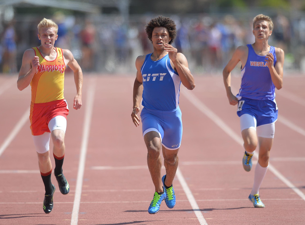 . Culver City\'s Jonathan Moniz wins the 400 meter Division 2 race of the CIF Southern Section Track and Field Championships Saturday at Mt. SAC. 20130518 Photo by Steve McCrank / Staff Photographer