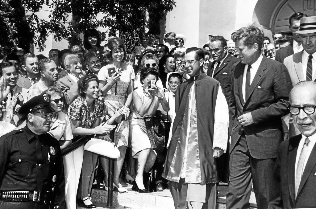 . JFK appears at what is believed to be a Catholic Church in Beverly Hills in 1962. (Photo by Bob Smith/Santa Monica Outlook)