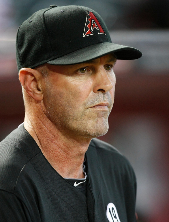 . Arizona Diamondbacks manager Kirk Gibson (23) before a baseball game against the Los Angeles Dodgers on Monday, July 8, 2013, in Phoenix. (AP Photo/Rick Scuteri)