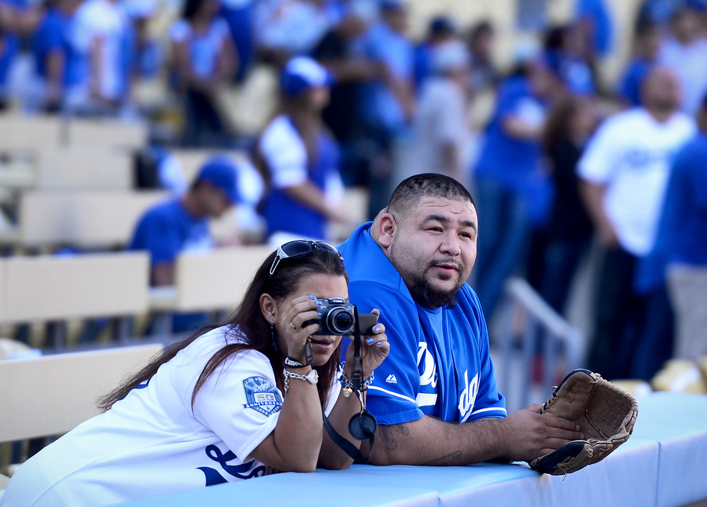 . Fans watch the field before Los Angeles Dodgers plays the Atlanta Braves during game 4 of the NLDS at Dodger Stadium Monday, October 7, 2013. (Photo by Sarah Reingewirtz/Los Angeles Daily News)