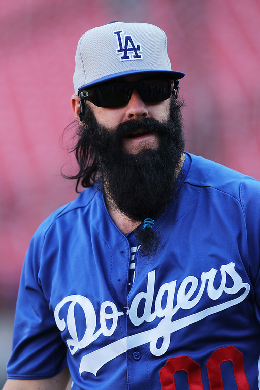. ST LOUIS, MO - OCTOBER 11:  Brian Wilson #00 of the Los Angeles Dodgers looks on during batting practive prior to Game One of the National League Championship Series against the St. Louis Cardinals at Busch Stadium on October 11, 2013 in St Louis, Missouri.  (Photo by Ed Zurga/Getty Images)