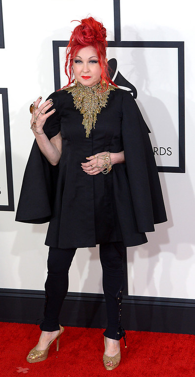 . Cyndi Lauper arrives at the 56th Annual GRAMMY Awards at Staples Center in Los Angeles, California on Sunday January 26, 2014 (Photo by David Crane / Los Angeles Daily News)