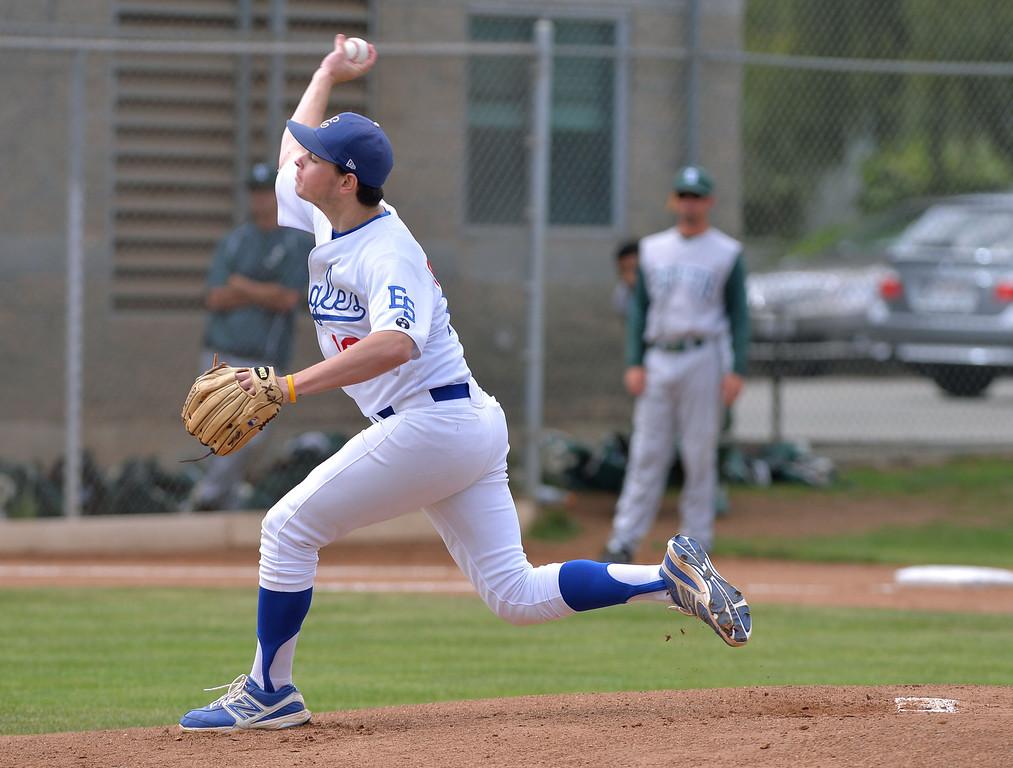 . 0509_SPT_TDB-L-SOUTH-ELSEG--- El Segundo, CALIFORNIA--5/8/13--- Staff Photo: Robert Casillas / LANG--- South Torrance defeated host El Segundo 6-3 in Pioneer League baseball game. Ryan Pordes throws for El Segundo.