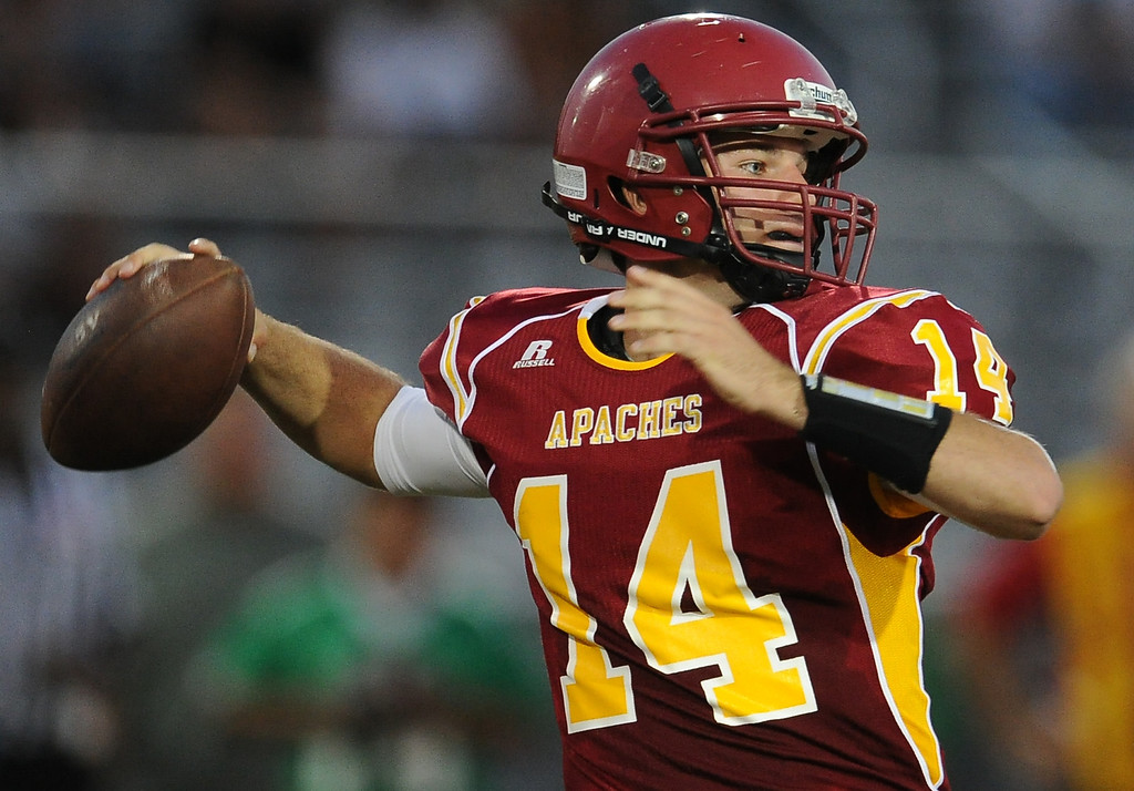 . Arcadia quarterback Joey Harmon passes against Monrovia in the first half of a prep football game at Arcadia High School in Arcadia, Calif. on Friday, Sept. 13, 2013.   (Photo by Keith Birmingham/Pasadena Star-News)