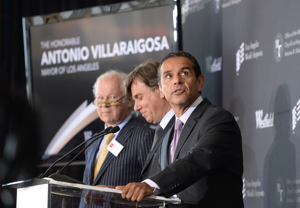 . Mayor Antonio Villaraigosa looks around at the building before him. Media preview of the new Tom Bradley International Terminal at LAX.  (Photo by Brad Graverson/Daily Breeze) 6-20-13