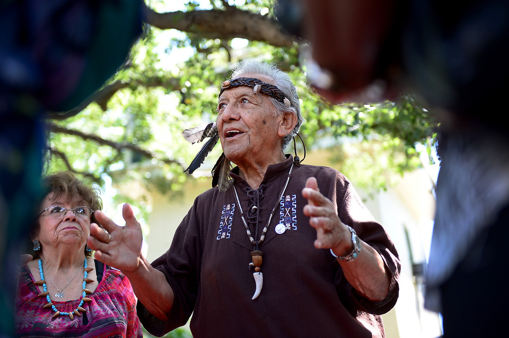 . Ernie Salas, of the Gabrieleno Kizh, educates visitors at the Homestead Museum on how the Kizh lived Saturday, May 4, 2013. Gabrielenos have been trying for decades to have their tribe be recognized by the Federal Government causing strain amongst tribal members. They are not alone in their quest to receive federal benefits through a process that many say is an impossible bureaucracy. (SGVN/Staff Photo by Sarah Reingewirtz)