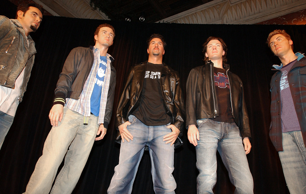 . The five wax figures of N*SYNC were unveiled during a special celebrity event at Madame Tussaud\'s New York wax museum Wednesday, Dec. 11, 2002.  (AP Photo/Scout Tufankjian)