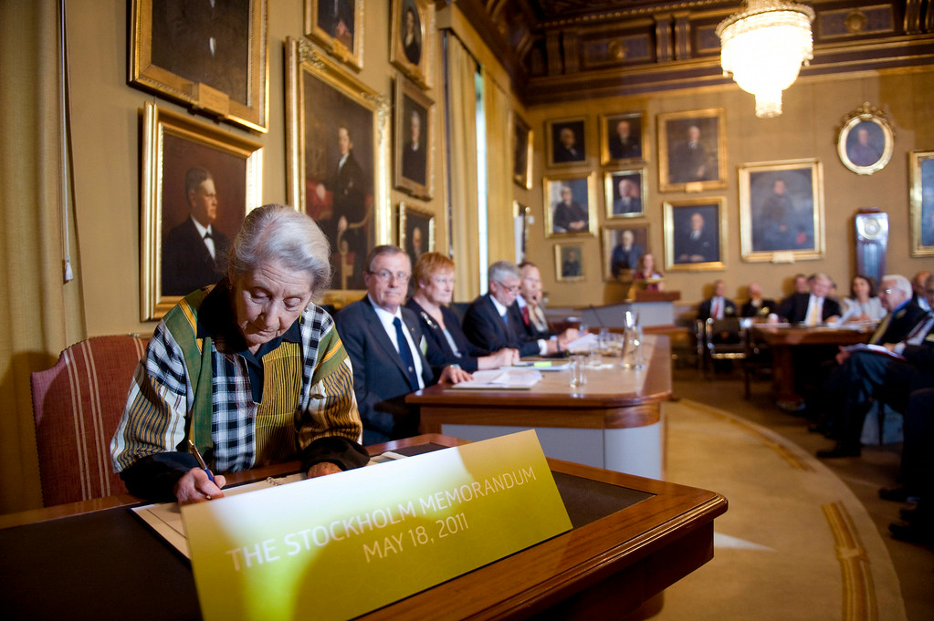 . 1991 Nobel Prize Laureate in Literature Nadine Gordimer signs The Stockholm Memorandum during the third Nobel Laureate Symposium on Global Sustainability at The Royal Swedish Academy of Sciences in Stockholm on May 18, 2011.  In addition to the Nobel laureates, leading scientists and environmental research group heads were on site to draft a Stockholm Memorandum on the findings of the meeting, which will be to the United High-level Panel on Global Sustainability.  The panel will draw up a report with suggestions before the UN Conference on Sustainable Development in Rio de Janeiro in 2012.  (JONATHAN NACKSTRAND/AFP/Getty Images)