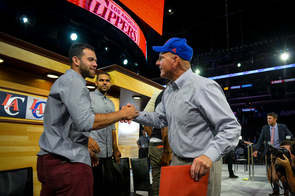 . New Clippers owner Steve Ballmer greets his players at a fan rally at Staples Center Monday August 18, 2014.  ( Photo by David Crane/Los Angeles Daily News )
