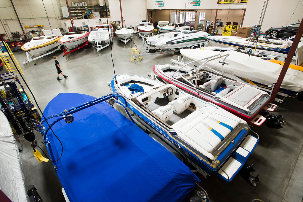 . Boats on display in the backshop at Hallett Boats dealership in Irwindale on Tuesday, June 25, 2013. Southland boaters are gearing up for the summer season, and in California that�s big business. But companies that sell boats and boating supplies say things are not nearly what they used to be before the recession. (SGVN/Staff photo by Watchara Phomicinda)