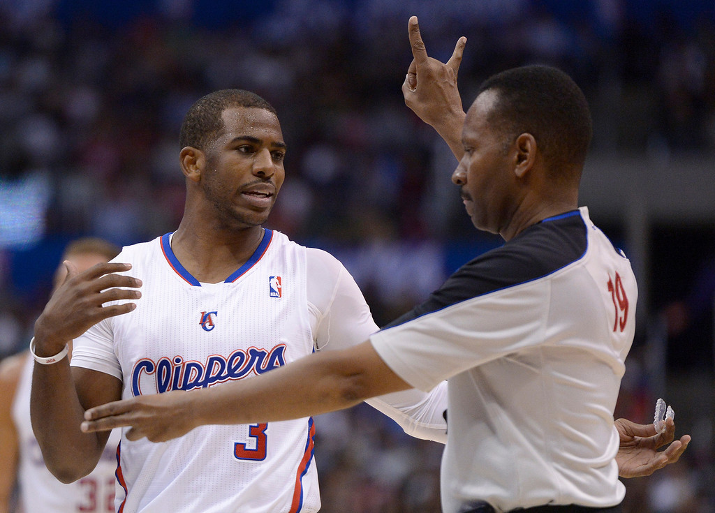 . Clippers#3 Chris Paul has a conversation with the official in the first half. The Los Angeles Clippers played the Oklahoma City Thunder in a regular season game at Staples Center in Los Angeles, CA. 4/9/2014(Photo by John McCoy / Los Angeles Daily News)