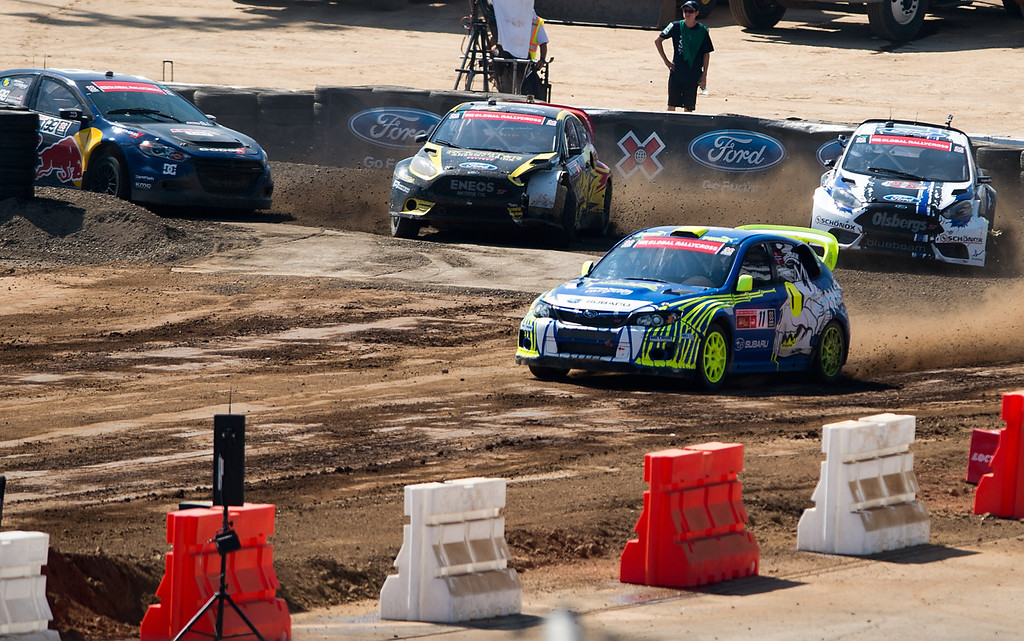 . Sverre Isachsen (#11) compete in the Ford RallyCross SuperCar final round during X Games Los Angeles at Irwindale Event Center on Sunday, August 4, 2013. Isachsen won bronze.  (SGVN/Staff photo by Watchara Phomicinda)