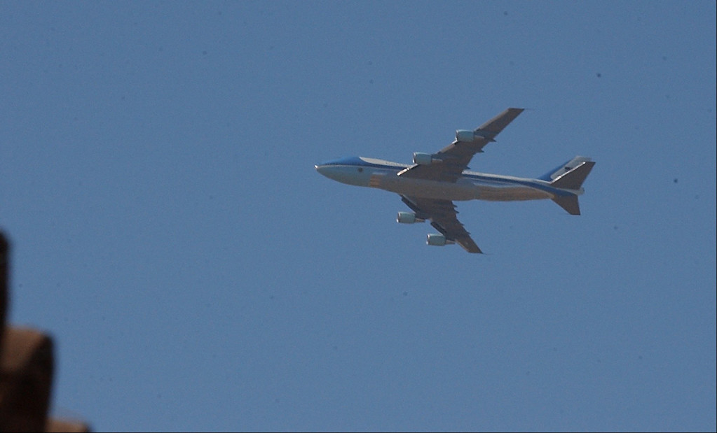 . 6/11/04--Simi Valley-- Air Force One does a fly by as it prepares to land at Point Mugu Naval Base 40th President body for funeral services at the Ronald Reagan Library in Simi Valley, Ca, Friday, June 11th, 2004.   (Los Angeles Daily News file photo)