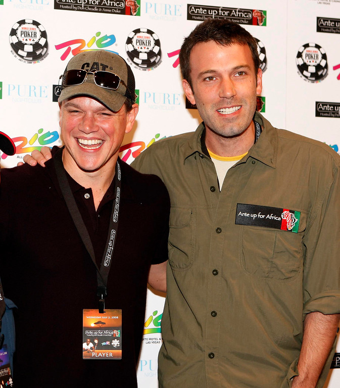 . FILE - In this July 2, 2008 file photo, Matt Damon, left, and Ben Affleck arrive at the Ante Up For Africa charity poker tournament during the World Series of Poker at the Rio hotel and casino in Las Vegas. (AP Photo/Isaac Brekken, file)