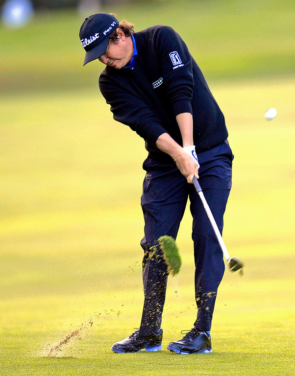 . Jason Dufner hits a shot from the fairway during the first-round of Tiger Woods\' Northwestern Mutual World Challenge at Sherwood Country Club in Thousand Oaks, CA Thursday December 5, 2013.(Andy Holzman/Los Angeles Daily News)