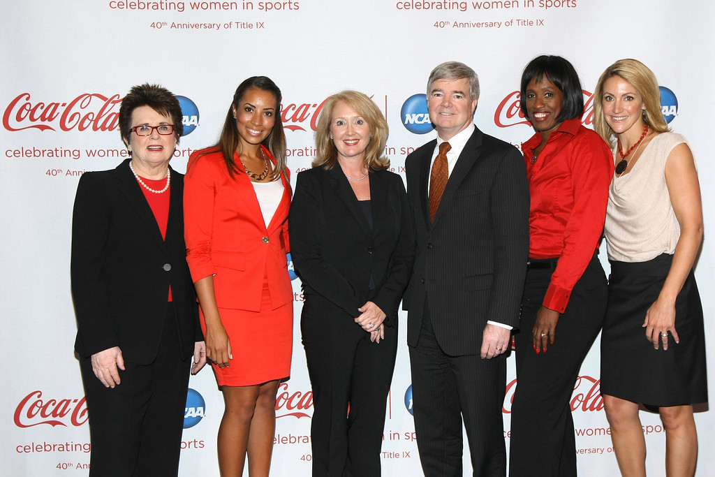 . NEW YORK, NY - JUNE 18:  (L-R) Billie Jean King, Cheyenne Woods, Sharon Byers, Dr. Mark Emmert, Jackie Joyner-Kersee and Summer Sanders join Coca-Cola and NCAA to honor the 40th Anniversary of Title IX at Jazz at Lincoln Center on June 18, 2012 in New York City.  (Photo by Neilson Barnard/Getty Images for Coca-Cola)