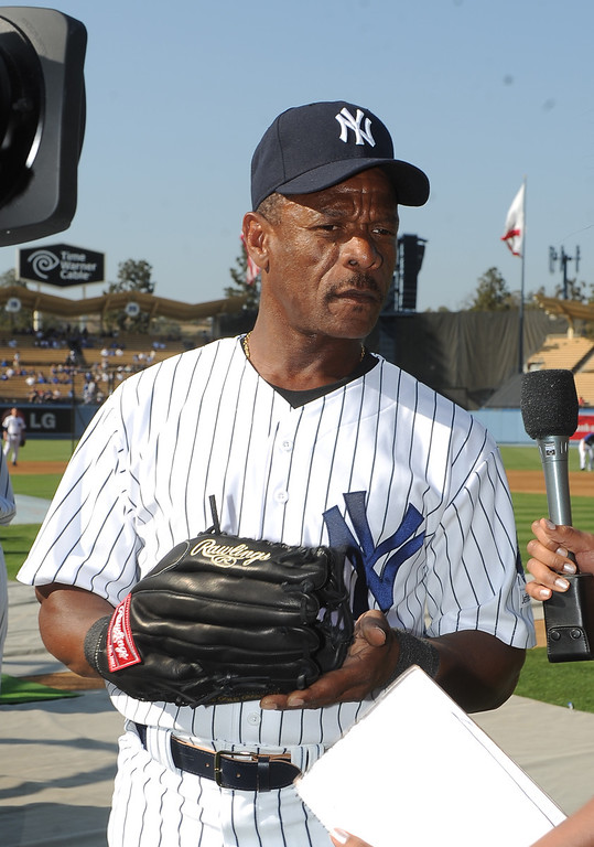 . New York Yankees Ricky Henderson during the Old-Timers game prior to a baseball game between the Atlanta Braves and the Los Angeles Dodgers on Saturday, June 8, 2013 in Los Angeles.   (Keith Birmingham/Pasadena Star-News)