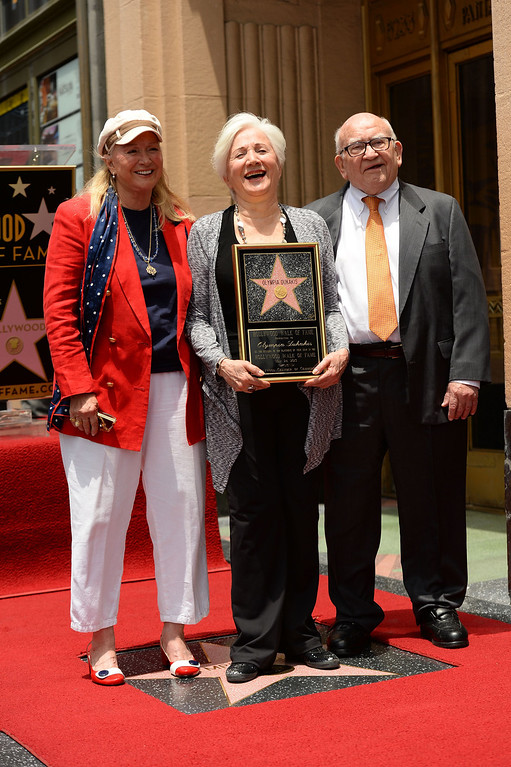 . HOLLYWOOD, CA - MAY 24:  (L-R) Actors Diane Ladd, Olympia Dukakis  and Ed Asner attend Olympia Dukakis being honored with the 2,498th Star on The Hollywood Walk Of Fame on May 24, 2013 in Hollywood, California.  (Photo by Mark Davis/Getty Images)