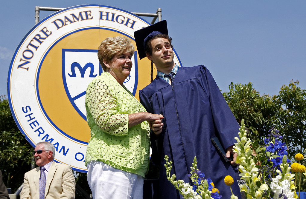 . The Notre Dame High School graduation class held their commencement on the high school football field on Saturday, June 01, 2013 in Sherman Oaks, CA.  Photo by Michael Yanow