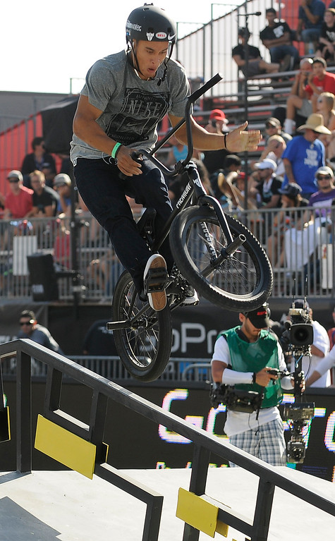 . Chad Kerley was the gold winner in the BMX Street finals at L.A. Live in Los Angeles, CA. 8/3/2013(John McCoy/LA Daily News)