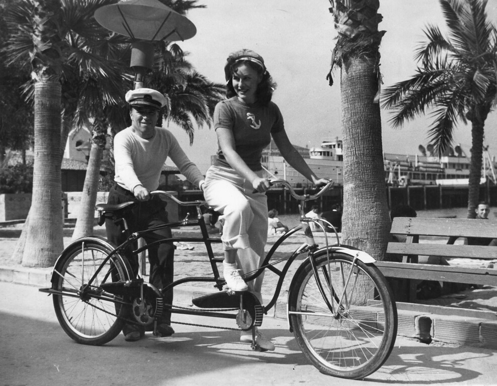 . Chaplin and Goddard on bike Photo Courtesy Catalina Island Museum
