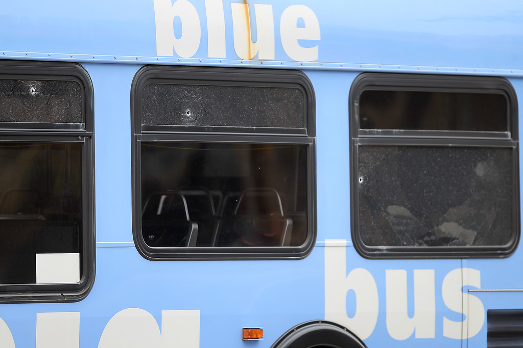 . SANTA MONICA, CA - JUNE 07:  Bullet holes are seen on a public transit bus in which two passengers were shot, after multiple shootings were reported at various locations including Santa Monica College June 7, 2013 in Santa Monica, California. According to reports, at least six people have died in the shootings.  (Photo by David McNew/Getty Images)