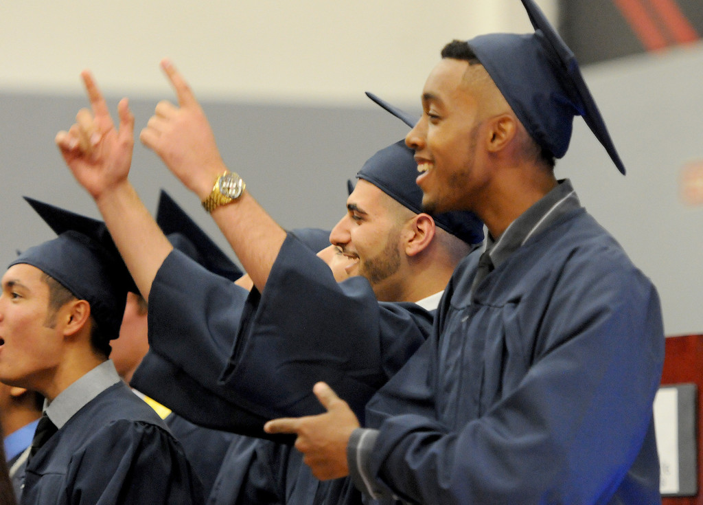 """. Students sing \""""The Best Days Of Our Lives\"""" at the Northridge Academy High School graduation ceremony on Thursday, June 5, 2014. (Photo by Dean Musgrove/Los Angeles Daily News)"""