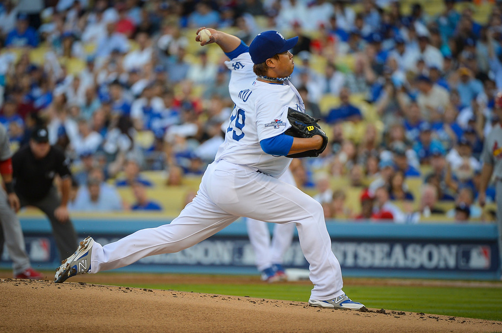 . Dodgers\' Hyun-Jin Ryu pitches against the Cardinals in the NLCS game 3 at Dodger Stadium Monday, October 14, 2013 ( Photo by Andy Holzman/Los Angeles Daily News )