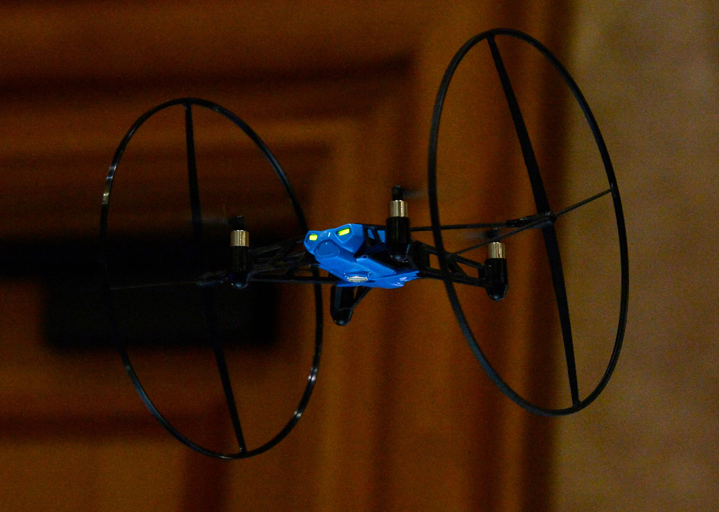 . Parrot displays its new mini drone units during the 2014 Consumer Electronics Show (CES) on Sunday, June 5, 2014 in Las Vegas, Nevada. The 2014 CES show starts Tuesday, Jan. 7, 2014 and runs until Friday, Jan. 10, 2014 with 150,000 people estimated to attend the show. (Photo by Gene Blevins/Los Angeles Daily News)