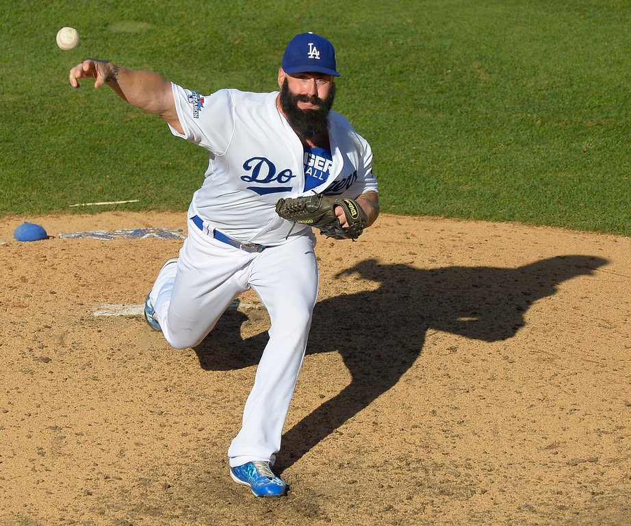 . Dodgers#00 Brian Wilson on the mound in the 8th inning. The Dodgers played the Saint Louis Cardinals in game 5 of the National League Championship Series at Dodger Stadium in Los Angeles, CA. 10/15/2013. photo by (John McCoy)/Los Angeles Daily News)