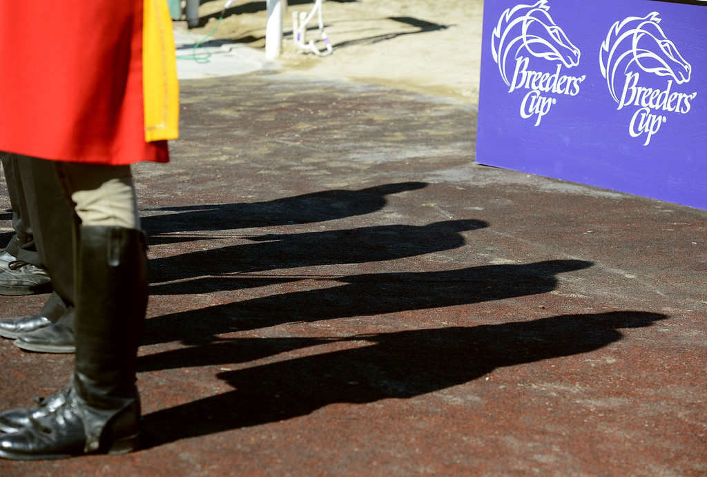 . Horn blower Jay Cohen prior to the start of the fourth race during the Breeders\' Cup at Santa Anita Park in Arcadia, Calif., on Saturday, Nov. 2, 2013.    (Keith Birmingham Pasadena Star-News)