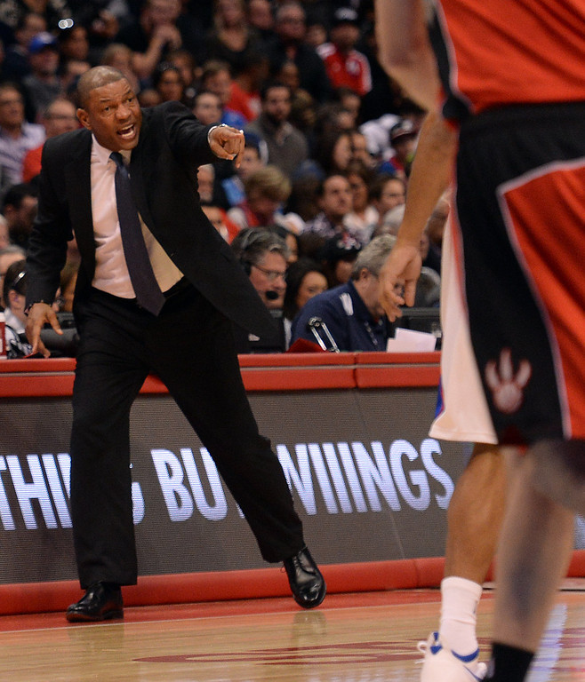 . Clippers� coach Doc Rivers during their game against the Raptors at the Staples Center in Los Angeles Friday, February 7, 2014. (Photo by Hans Gutknecht/Los Angeles Daily News)