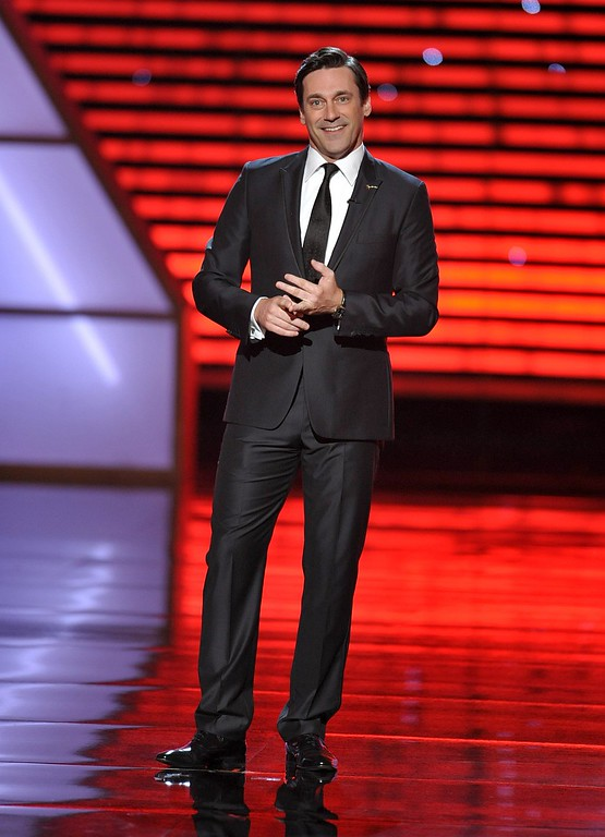 . Host Jon Hamm speaks at the ESPY Awards on Wednesday, July 17, 2013, at Nokia Theater in Los Angeles. (Photo by John Shearer/Invision/AP)