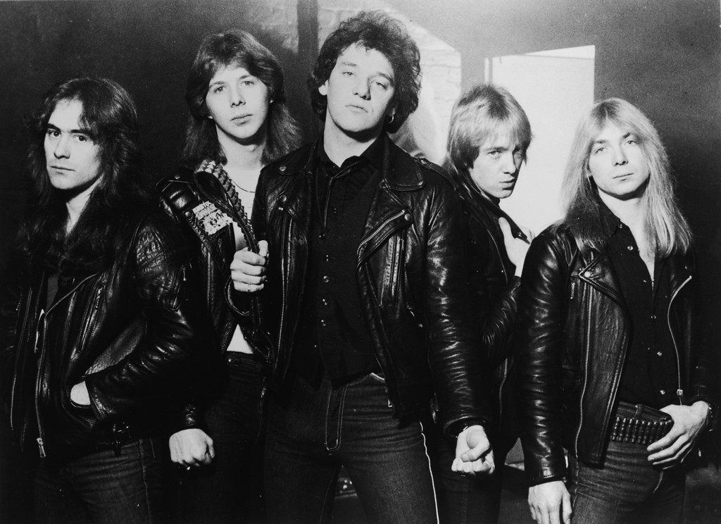 . British heavy metal group, Iron Maiden, 1981: (L-R) Steve Harris, Clive Burr, Paul Di\'Anno, Adrian Smith, and Dave Murray. (Photo by Robert Ellis/Hulton Archive/Getty Images)