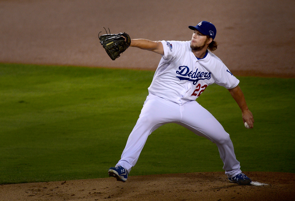 . Los Angeles Dodgers\' Clayton Kershaw pitches to the  Atlanta Braves during game 4 of the NLDS at Dodger Stadium Monday, October 7, 2013. (Photo by Sarah Reingewirtz/Los Angeles Daily News)