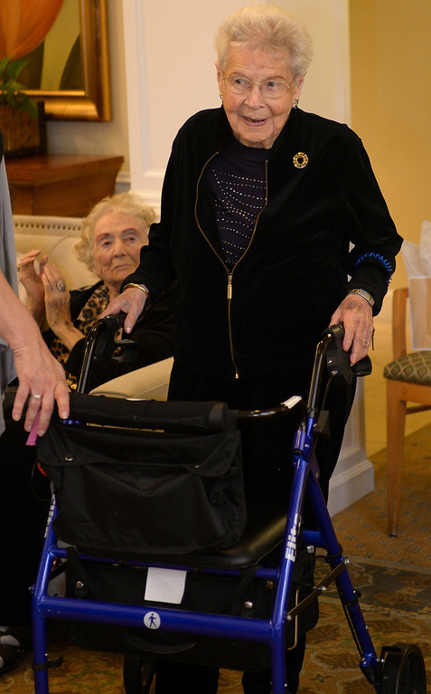 . Longtime Sherman Oaks resident Ruth Mendelson celebrates her 104th birthday at the to Village at Sherman Oaks assisted-living facility. After Ruth cut her birthday cake,  Councilman for the 4th district Tom LaBonge presented her with a proclamation welcoming her to the Centenarians of Los Angeles club. CA. March 28, 2014 (Photo by John McCoy / Los Angeles Daily News)