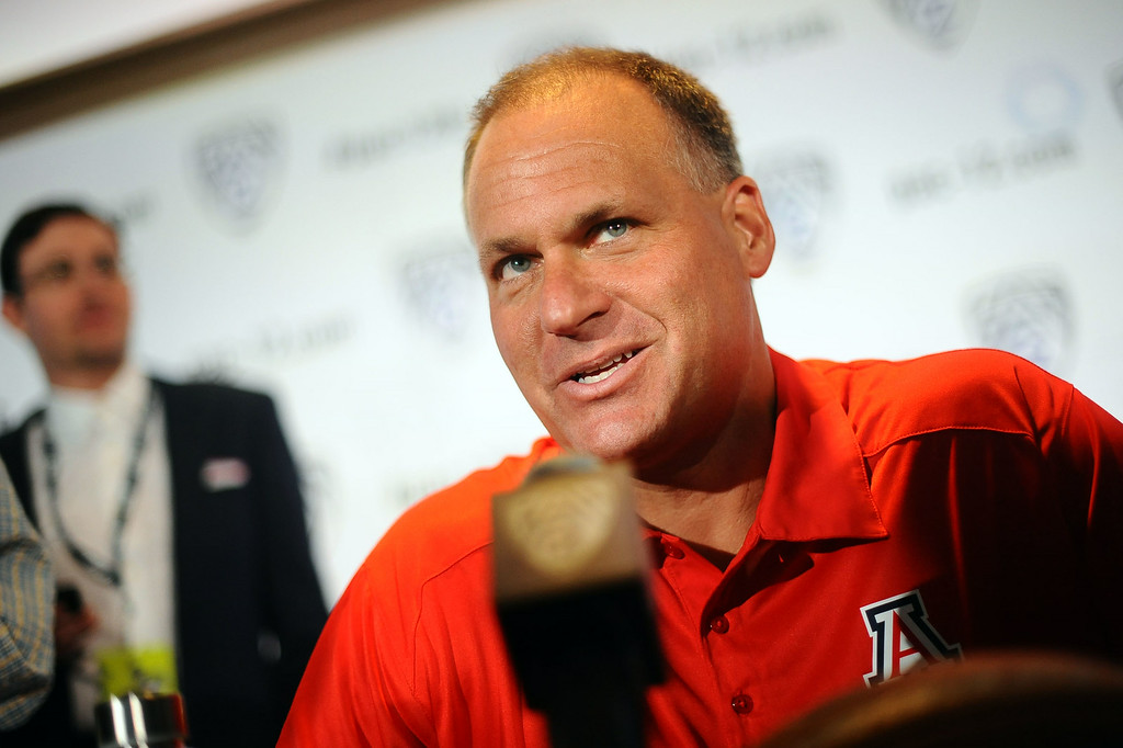 . Arizona head coach Rich Rodriguez answers questions during PAC-12 Football Media Day at the Paramount Theater in Los Angeles, Ca July 23, 2014.(Andy Holzman/Los Angeles Daily News)