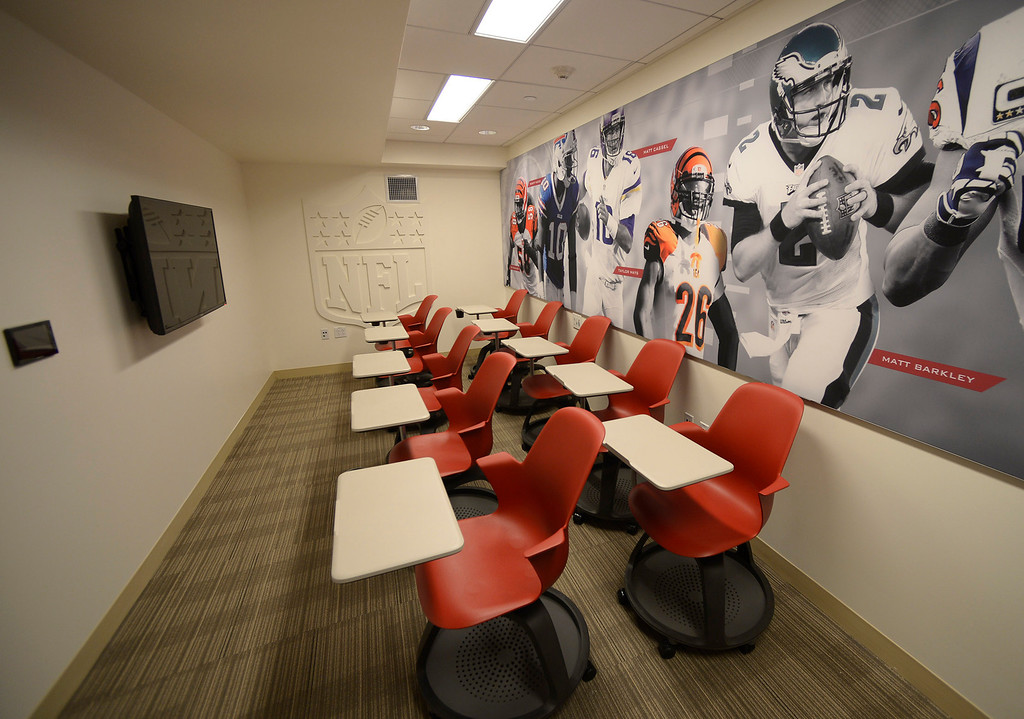 . NFL scouts are invited to view film in this room. Heritage Hall, which houses USC\'s athletic department, has been closed for the past year while undergoing a $35-million renovation.  The building first opened in 1971 at a cost of $2.8 million and was originally 48,000 square feet. It now is 80,000 square feet. As part of the renovation, Heritage Hall\'s two-story lobby has been transformed into a state-of-the-art museum space featuring interactive displays. Heritage Hall also includes a sports performance center, a broadcast studio, a lounge for Women of Troy student-athletes, a rowing ergometer room and an indoor golf driving area, plus new locker rooms, meeting rooms, equipment room and event space.   Los Angeles , CA. January 30, 2014 (Photo by John McCoy / Los Angeles Daily News)