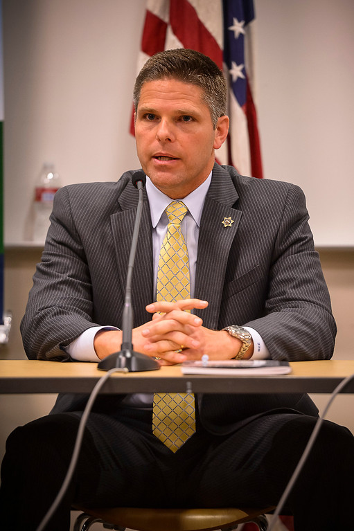 . James Hellmold, candidate for Los Angeles County Sheriff, at a debate at the Van Nuys Neighborhood Council on Wednesday, March 12, 2014.   (Photo by David Crane/Los Angeles Daily News)