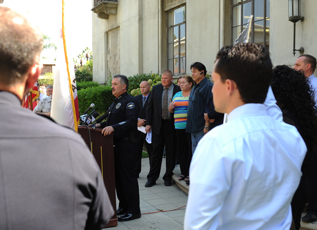 . (John Valenzuela/Staff Photographer) Redlands Police Chief Mark Garcia gives an update in the murder investigation of Sylvia Flores, during a press conference outside the police annex in Redlands, CA.Tuesday, September 12, 2013. Flores, a 23-year-old woman from Perris, CA. who\'s body was found in a orange groves near Citrus Plaza shopping center in Redlands.