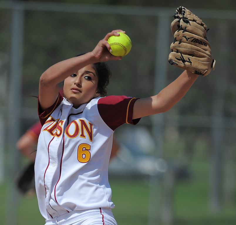 . 05-16-2013-( Daily Breeze Staff Photo by Sean Hiller) Wilson vs. El Toro in the opening round of the CIF-SS D2 playoffs Thursday at Joe Rodgers Field in Long Beach. Gabrielle Juarez pitches fro Wilson.