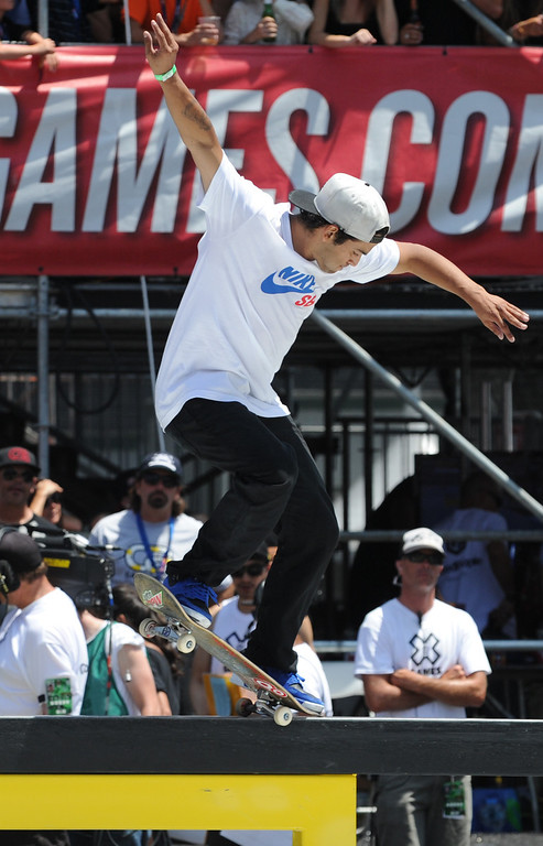 . Paul Rodriguez during the Street League Skateboarding finals at L.A. Live in Los Angeles, CA. 8/3/2013(John McCoy/LA Daily News)